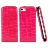 Crocodile Grain Faux Leather & PC Plastic Protective Flip Case for iPhone 5 (Rose Red)